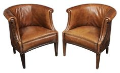 Brunk Auctions - Pair Leather-Upholstered Club Chairs