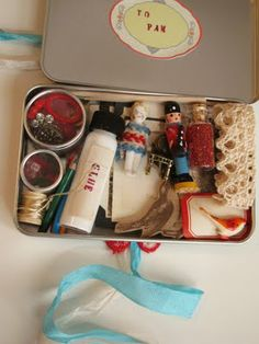 Tiny Gift for a friend...  A Tin Made for Gift Card Giving (found at Michael's) Filled with Tiny Treats & Craft Supplies
