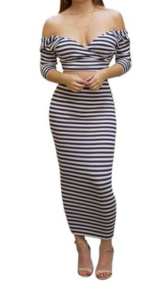 Kearia Womens Off Shoulder Stripe Two Piece Bodycon Dress Crop Top And Midi Skirt White Large