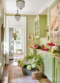 Sarah Bartholomew Infuses Color into a 1920s Nashville Home - The Glam Pad WHAT BEAUTIFULLY DELICIOUS GREEN ON THE CABINETS!