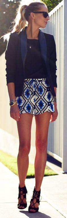 Movida Boutique Multi Jacquard Print Street Chic Culotte Shorts