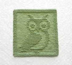 OWL Knit Dishcloth  Hand Knitted Unique Design by AuntSusansCloset, $6.50