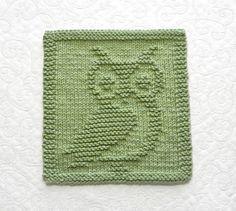 OWL Knit Dishcloth Hand Knitted Unique Design by AuntSusansCloset, $6.50