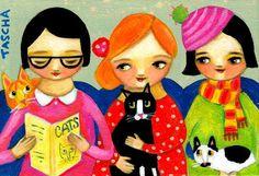 Tascha Parkinson: Gatos en el Vet Folk Art Pintura