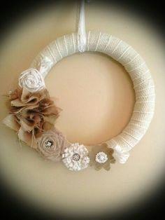Handmade Burlap  Lace Wreath $35