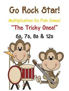 """""""Go Rock Star!"""" Multiplication Go Fish Game The Tricky Ones ~ 6, 7, 8 and 12s! Common Core Standards Math - Operations  Algebraic Thinking Third Grade: 3.OA.3 3.OA.7 Math ~ Number  Operations in Base Ten Fourth Grade: 4.NBT.5 This card game focuses on the tricky multiplication facts, sixes, sevens, eights  twelves! * 24 PAGES of a Rock Star Monkey Theme! * 96 mixed cards for the game! $3"""
