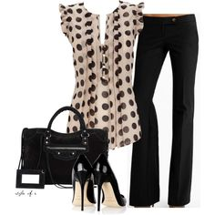 Black Polka Dots by styleofe on Polyvore. Love the blouse, but it's sold out :(