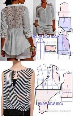 Los patrones de las blusas insólitas y las chaquetas