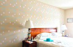 A DIY stenciled accent wall in a bedroom using the Lady Slipper Allover pattern.  http://www.cuttingedgestencils.com/orchid-floral-stencil-pattern.html?utm_source=JCG&utm_medium=Pinterest&utm_campaign=Lady's%20Slipper%20Allover%20Stencil%20