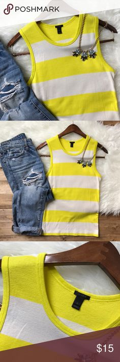 "• J. CREW yellow perfect fit shell • A nautical sunny yellow tank with white stripes. Fitted with a high scoop neck. Like new and no flaws! Pair with boyfriend jeans for a darling look! Bust: 14"" Length: 24"" J. Crew Tops Tank Tops"