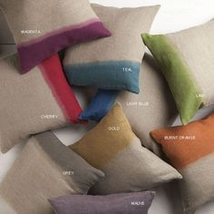 Dyed Linen Pillow - These naturally elegant pillows will brighten up your space. Dip dyed on natural linen by artisans in India, they come filled with a down insert. Multiple sizes, Free Delivery!