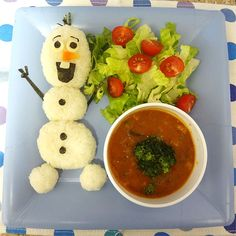 Edible Olaf (out of rice) with  curry soup from Working Mom's Edible Art