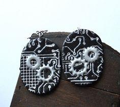 Cyber Steam Punk Earrings by claykawaii on Etsy