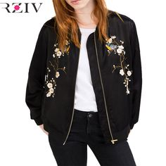 b8557ced0eff2 RZIV Women bomber jacket 2016 Casual systemic tree flowers embroidered  flight female jacket and women basic
