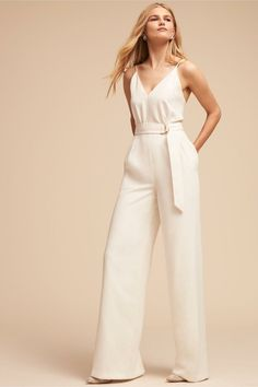 This Bridal jumpsuit is one of the many hottest new trends Bridal Shower Bride Outfit, Wedding Pantsuit, Wedding Jumpsuit, Dress Wedding, Outfit Trends, Little White Dresses, Evening Gowns, Marie, Girl Outfits