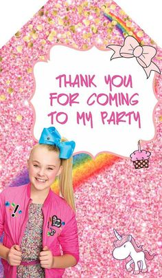 JOJO SIWA THANK YOU TAGS, Jojo Siwa Invitation, Jojo Siwa birthday invitation, thank you card Jojo Siwa, Jojo Siwa birthday, Jojo Siwa thank you card, Jojo Siwa party, Jojo Siwa, thank you card INVITATION HERE: Kylie Birthday, Jojo Siwa Birthday, Happy 7th Birthday, Girl Birthday, Birthday Ideas, Birthday Party Treats, Unicorn Birthday Parties, Birthday Party Decorations, Party Themes