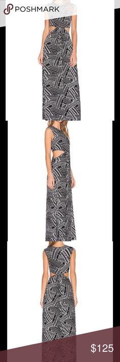 """Clayton Tribal Maxi Dress Clayton's designs are for the girl on the go and are full of mini dresses, casual maxis and attention grabbing garments that a girl just has to have! This is one of those maxi dresses that have such a unique print.   95% viscose , 5% spandex Hand wash cold Unlined Side cut-outs Shoulder seam to hem measures approx 55"""" Color - Ethnic Clayton Dresses Maxi"""