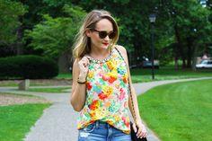 Embellished floral top for summer