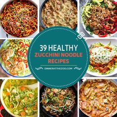 These healthy zoodle recipes are perfect for people trying to watch their carbs and calories! There are so many different ways to use zucchini noodles, they're great in soups, salads, stir fries and as a replacement for pasta in Italian dishes. Grab your spiralizer and get cooking!