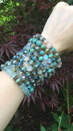 Beautiful boho jewelry from By Amillia, these crystal bracelets made from angel aura quartz, sea glass or turquoise ☆ To see more of my jewellery visit www.byamillia.com or follow me on instagram @byamillia ★ #crystalbracelets #gemstonebracelets #crystaljewelry #bohocrystaljewelry #angelauraquartz