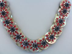 Red and Black Necklace Mother of Pearl Button by ElsaWadesdesigns, $60.00