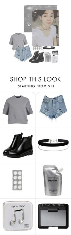 """""""Too good to you"""" by junggukies ❤ liked on Polyvore featuring T By Alexander Wang, WithChic, Miss Selfridge, Prtty Peaushun, Happy Plugs and NARS Cosmetics"""