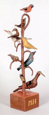 "This carved and painted bird tree, one of three in the sale, ""Schtockschnitzler"" Simmons (Berks County, Penn., active 1885–1910), 19¼ inches tall with nine polychromed birds, sold to dealer David Wheatcroft for $ 76,050,  ""It's about the best, with nine birds, two of them of large size,"" David said after the auction. Richard Machmer Auction"