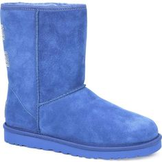 UGG Australia Women's Classic Short Crystal Bow Marine Blue Boots ($220) ❤ liked on Polyvore
