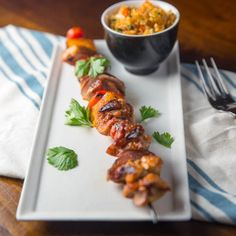 This summertime dish is quick, easy, and delicious. Featuring a honey and lime glaze this kabob is a winner!