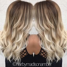 Balayage ombré platinum blonde long hair @hairbymadisonamber