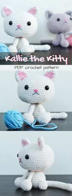 SOOOO CUTE!!! Such an adorable kitten amigurumi pattern to crochet this stuffed toy for any child or cat lover! #etsy #ad #pdf #crochetpattern #instantdownload