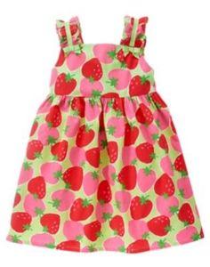 GYMBOREE STRAWBERRY SWEETHEART STRAWBERRY PRINT WOVEN DRESS 3 6 NWT