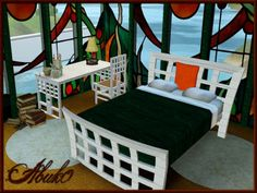 Sabo Living set 5 windows, table, chair plus bed by Abuko - Sims 3 Downloads CC Caboodle