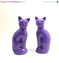 ON SALE purple cat figurines  //  purple decor violet by nashpop