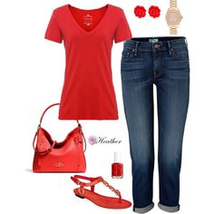 Red 2 by hrtheo on Polyvore featuring Velvet by Graham & Spencer, Mother, Lauren Ralph Lauren, Coach, Michael Kors, Fornash and Essie