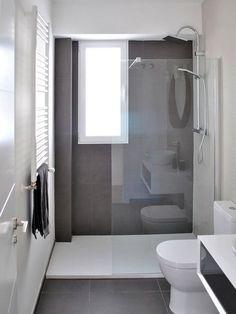 Bathroom renovation - Home Decor Narrow Bathroom, Bathroom Design Small, Grey Bathrooms, Bathroom Layout, Bathroom Interior Design, Modern Bathroom, Bathroom Ideas, Bathroom Green, White Bathroom
