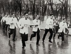 Sommelier competition//I saw one of these guys trailing after runners in a race in Paris...funniest thing!