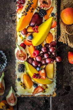 Super easy ice cream tart with a biscuit base, vanilla ice cream and fresh summer fruits. No baking and totally delicious.