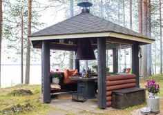 Dream Home Design, House Design, Backyard Gazebo, Fire Pit Area, Relaxing Places, Bbq Area, Log Homes, Pavilion, Survival
