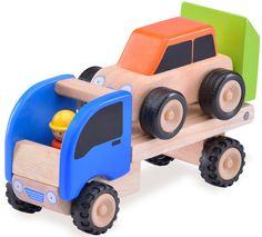 Leuke houten mini takelwagen. Gebruik je fantasie en beleef de leukste avonturen.   Afmeting: 135x90x225 mm - Houten Voertuig Wonderworld Autotrailer 9x23x14 cm