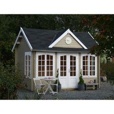 Ein raffiniertes dunkelgelbes Gartenhaus für Ihrer ruhiger und qualitativ Freizeit. Mehr Information auf pineca.de/gartenhauser/