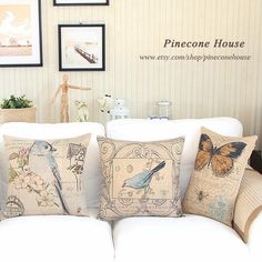 Birds Floral Butterfly Linen Pillow Burlap Pillow by PineconeHouse, $16.90