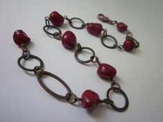Privateer - boho tribal antiqued copper hoops and rustic bright cherry red sea coral nuggets bracelet or anklet by LoveRoot, $27.00