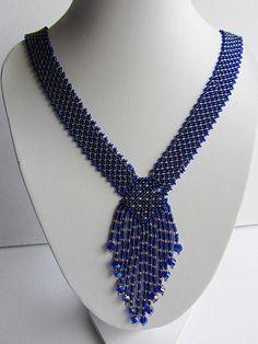 Necklace Resplendent ultramarine - Long Necklace Handmade - bright ultramarine color - Bead weaving - unique