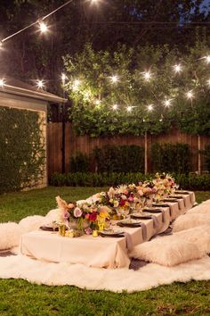 Boho backyard dinner party - baby shower idea.