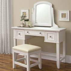 $287 no chair Home Styles Naples Vanity Table in White