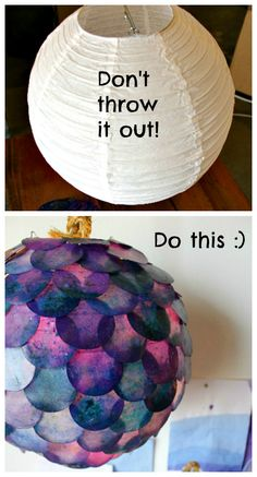 Upcycle: Paper lantern gets a fishy refab ... looks super cool :) maybe in browns/yellows for tortoise finish or greens.. fun!