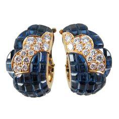 Van Cleef & Arpels Mystery-Set Sapphire Diamond Gold Earrings.