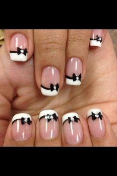 Cute Black And White Bow Nails