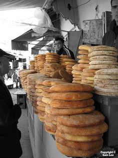 Bread in - [Khobz] خبز in African Countries, Marrakesh, International Recipes, Street Food, Bakery, Deserts, World, Arabian Food, Sidewalks